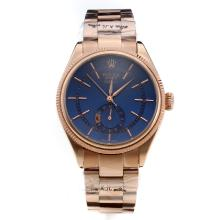 Rolex Cellini Automatic Full Rose Gold Case with Blue Dial-Stick Markings