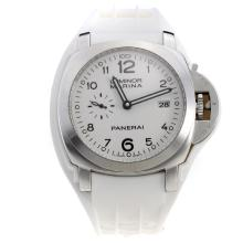 Panerai Luminor Marina Swiss Valjoux 7750 Movement White Dial with White Rubber Strap-Extra Brown Leather Strap
