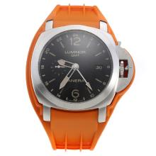 Panerai Luminor GMT Swiss Valjoux 7750 Movement Black Dial with Orange Rubber Strap-Extra Black Leather Strap