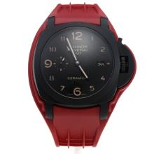 Panerai Luminor GMT Swiss Valjoux 7750 Movement PVD Case Black Dial with Red Rubber Strap-Extra Black Leather Strap