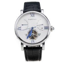 Cartier Calibre de Cartier Tourbillon Automatic with White Dial-Leather Strap