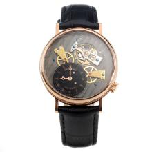 Breguet No.568 Tourbillon Automatic Rose Gold Case with Black Dial-Leather Strap