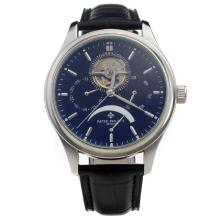 Patek Philippe Tourbillon Working Power Reserve Automatic with Black Dial-Leather Strap