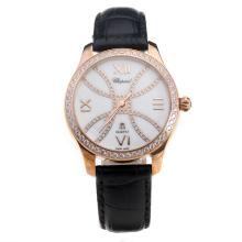 Chopard Happy Sport Rose Gold Case Diamond Bezel with MOP Dial-Black Leather Strap