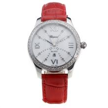 Chopard Happy Sport Diamond Bezel with MOP Dial-Red Leather Strap