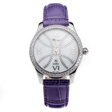 Chopard Happy Sport Diamond Bezel with MOP Dial-Purple Leather Strap