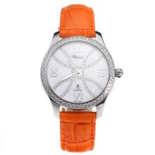 Chopard Happy Sport Diamond Bezel with MOP Dial-Orange Leather Strap