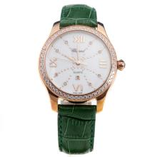 Chopard Happy Sport Rose Gold Case Diamond Bezel with MOP Dial-Green Leather Strap