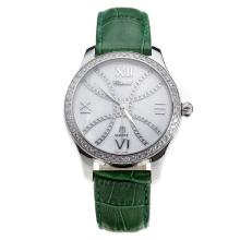 Chopard Happy Sport Diamond Bezel with MOP Dial-Green Leather Strap