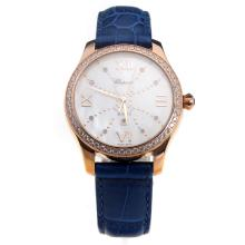 Chopard Happy Sport Rose Gold Case Diamond Bezel with MOP Dial-Blue Leather Strap