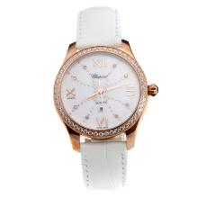 Chopard Happy Sport Rose Gold Case Diamond Bezel with MOP Dial-White Leather Strap