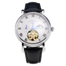 Patek Philippe Tourbillon Automatic with White Dial-Leather Strap