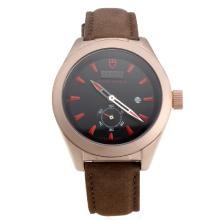 Tudor Black Shield Rose Gold Case with Black Dial-Leather Strap-5