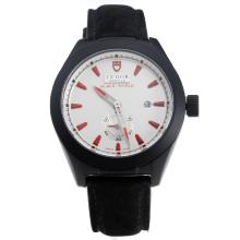 Tudor Black Shield PVD Case with Black Dial-Leather Strap-7