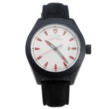 Tudor Black Shield PVD Case with Black Dial-Leather Strap-6
