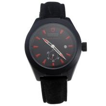 Tudor Black Shield PVD Case with Black Dial-Leather Strap-5