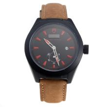 Tudor Black Shield PVD Case with Black Dial-Leather Strap-3