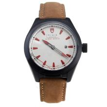 Tudor Black Shield PVD Case with White Dial-Leather Strap-3