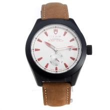 Tudor Black Shield PVD Case with White Dial-Leather Strap-2