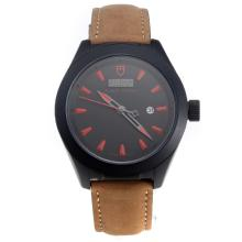 Tudor Black Shield PVD Case with Black Dial-Leather Strap-2