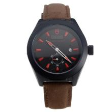 Tudor Black Shield PVD Case with Black Dial-Leather Strap-1