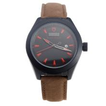 Tudor Black Shield PVD Case with Black Dial-Leather Strap