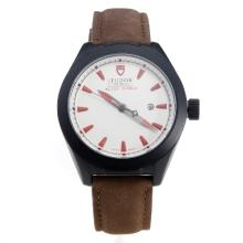Tudor Black Shield PVD Case with White Dial-Leather Strap-1