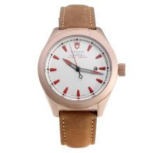 Tudor Black Shield Rose Gold Case with White Dial-Leather Strap-3