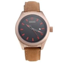 Tudor Black Shield Rose Gold Case with Black Dial-Leather Strap-3