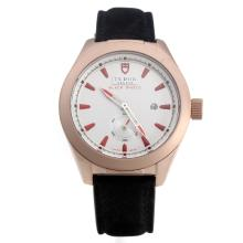 Tudor Black Shield Rose Gold Case with White Dial-Leather Strap-1