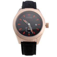 Tudor Black Shield Rose Gold Case with Black Dial-Leather Strap-2