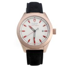 Tudor Black Shield Rose Gold Case with White Dial-Leather Strap
