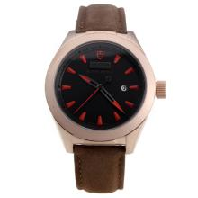 Tudor Black Shield Rose Gold Case with Black Dial-Leather Strap