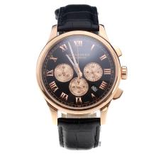 Chopard LUC Working Chronograph Rose Gold Case with Black Dial-Black Leather Strap