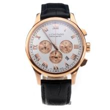 Chopard LUC Working Chronograph Rose Gold Case with White Dial-Black Leather Strap