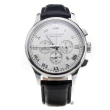 Chopard LUC Working Chronograph Roman Markings with White Dial-Black Leather Strap