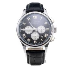 Chopard LUC Working Chronograph Roman Markings with Black Dial-Black Leather Strap