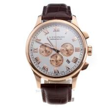 Chopard LUC Working Chronograph Rose Gold Case with White Dial-Brown Leather Strap