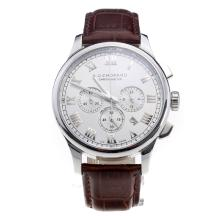 Chopard LUC Working Chronograph Roman Markings with White Dial-Brown Leather Strap