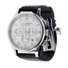Chopard LUC Working Chronograph Roman Markings with White Dial-Black Rubber Strap