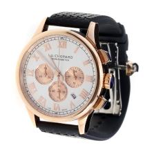 Chopard LUC Working Chronograph Rose Gold Case with White Dial-Black Rubber Strap