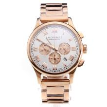 Chopard LUC Working Chronograph Full Rose Gold with White Dial-Roman Markings
