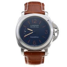 Panerai Luminor Marina Automatic Orange Markings with Black Dial-Brown Leather Strap