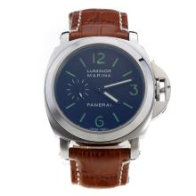 Panerai Luminor Marina Automatic Green Markings with Black Dial-Brown Leather Strap