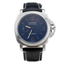 Panerai Luminor Marina Automatic Orange Markings with Black Dial-Black Leather Strap