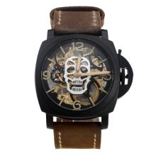 Panerai Skeleton Swiss ETA Unitas 6497 Manual Winding Movement PVD Case-Skull