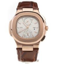 Patek Philippe Nautilus Rose Gold Case with Silver Dial-Leather Strap