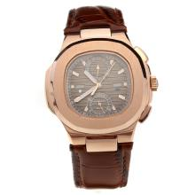 Patek Philippe Nautilus Rose Gold Case with Brown Dial-Leather Strap-1