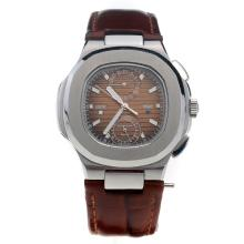 Patek Philippe Nautilus with Brown Dial-Leather Strap-1