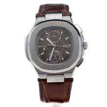 Patek Philippe Nautilus with Brown Dial-Leather Strap